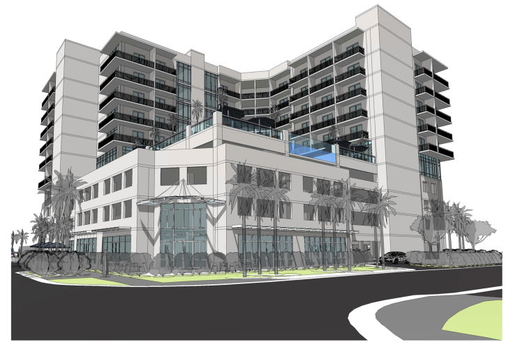 The 10-story, 155-room Clearwater Beach Guesthouse approved for 521 S Gulfview Blvd. will have a West Indies look. Decade Properties